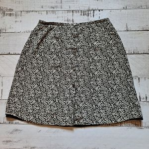 J. Crew Floral Button Front Skirt Olive 6 GUC